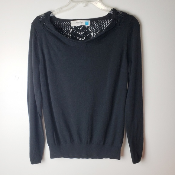 Anthropologie Sweaters - Sparrow Black Sweater with Embroidered Back Size L